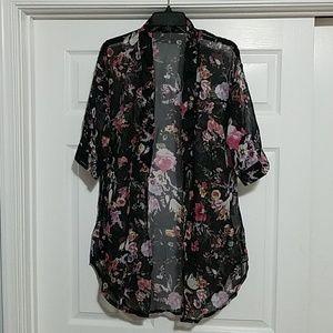Floral Half Sleeve Chiffon Short Cardigan (L/XL)